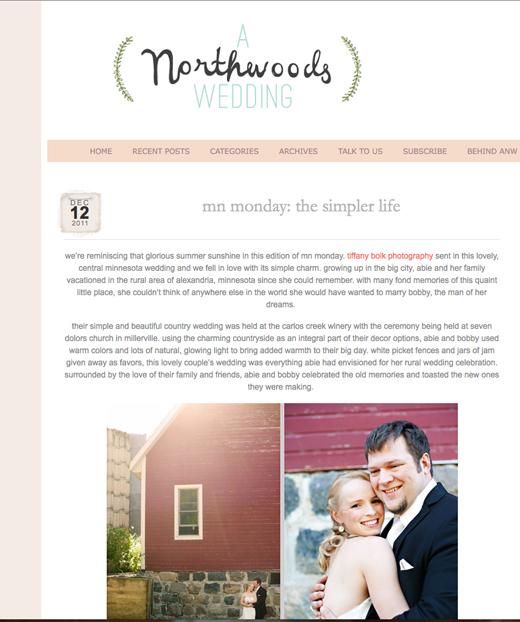 A Northwoods Wedding Blog, Tiffany Bolk Photography