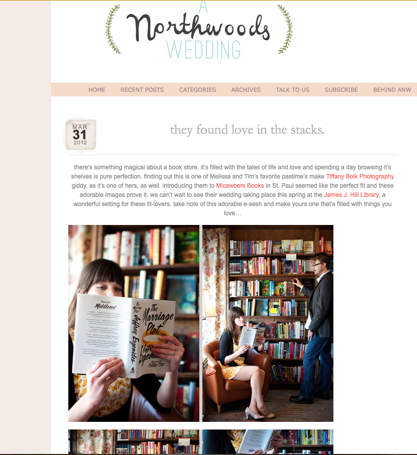 St. Paul engagement photos, Micawbers bookstore, A Northwoods Wedding blog, Tiffany Bolk Photography