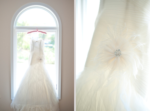 white wedding dress with feather flower