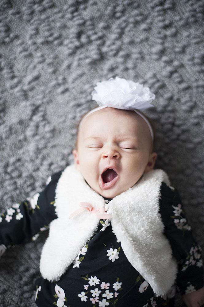 newborn yawning