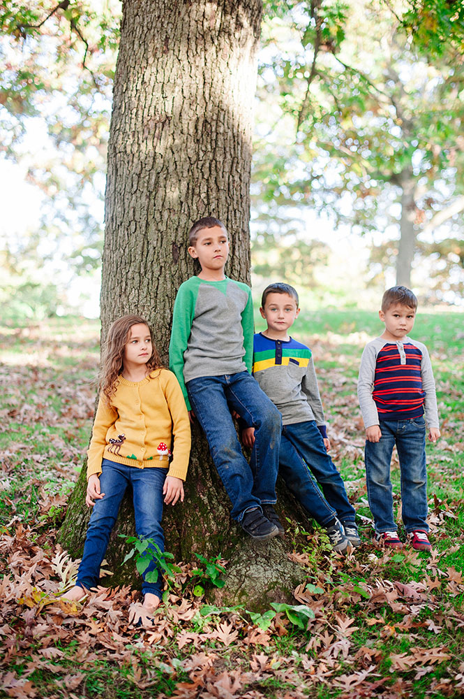 portrait of 4 kids in the Fall
