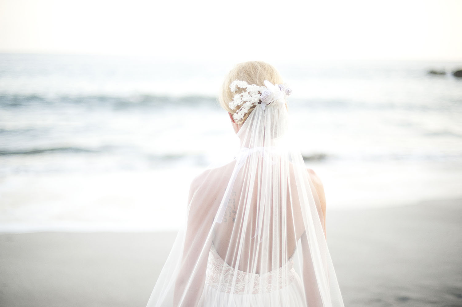 back view of brides veil