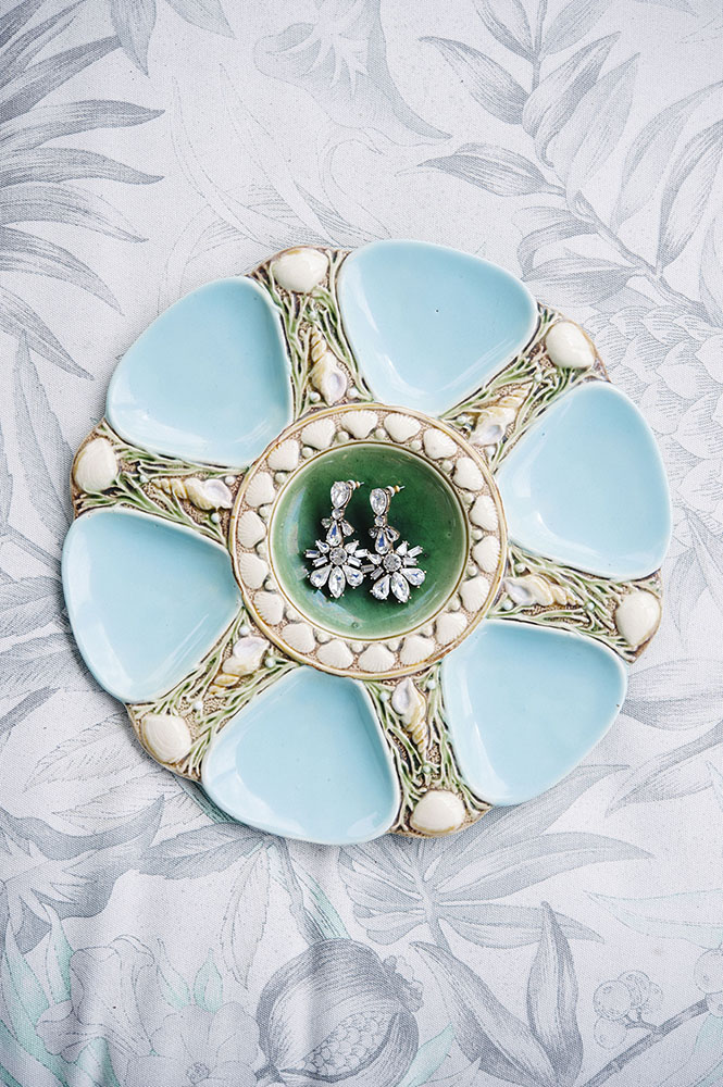 earrings on a pretty plate