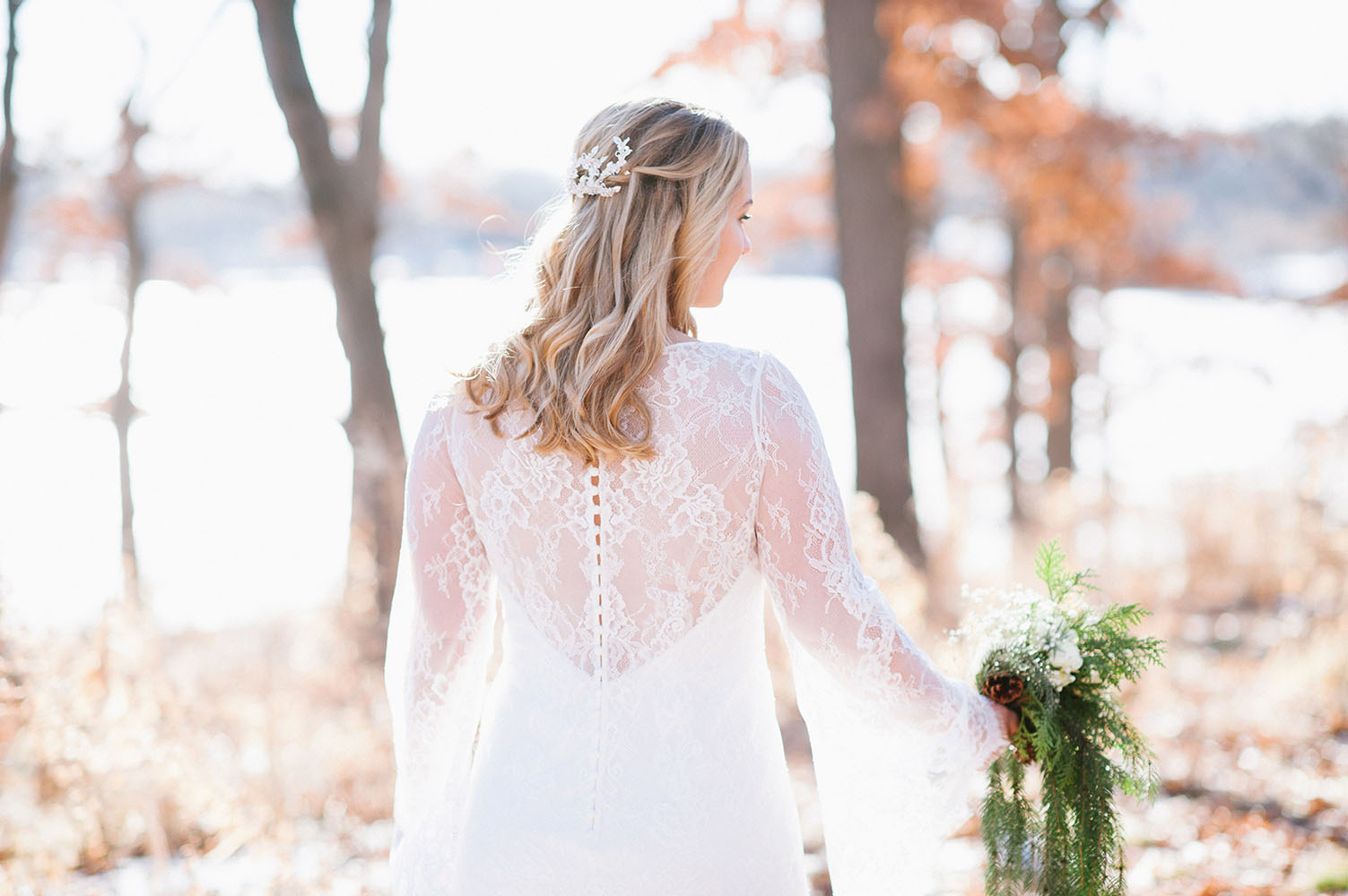 back of brides lace gown