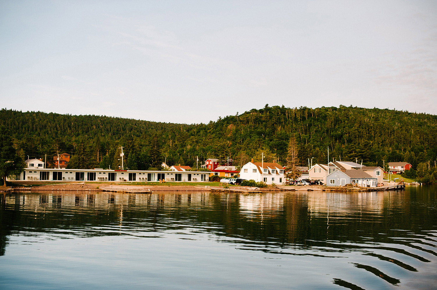 View of Copper Harbor Michigan from a boat
