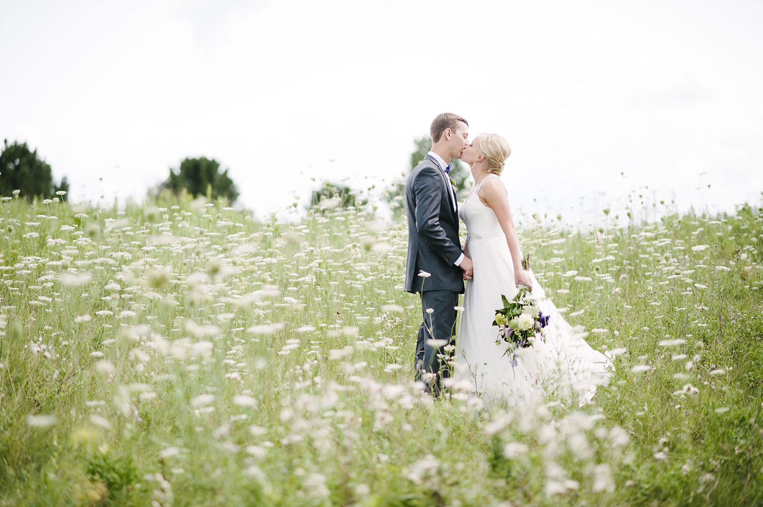 bride and groom kissing in a field of queen anne's lace