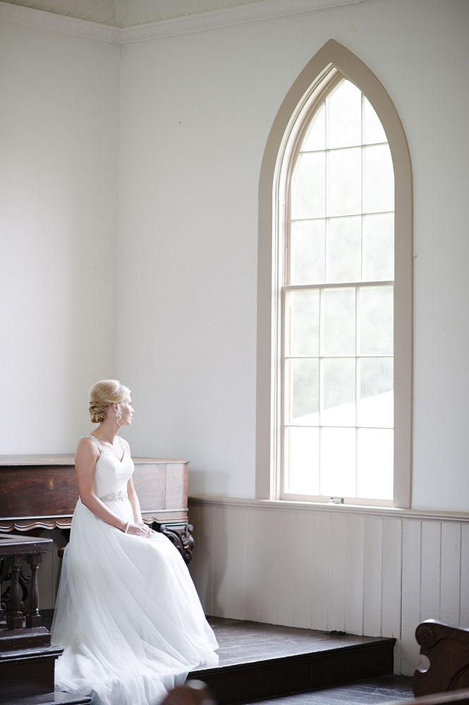 Bridal portrait in church at Murphys Landing