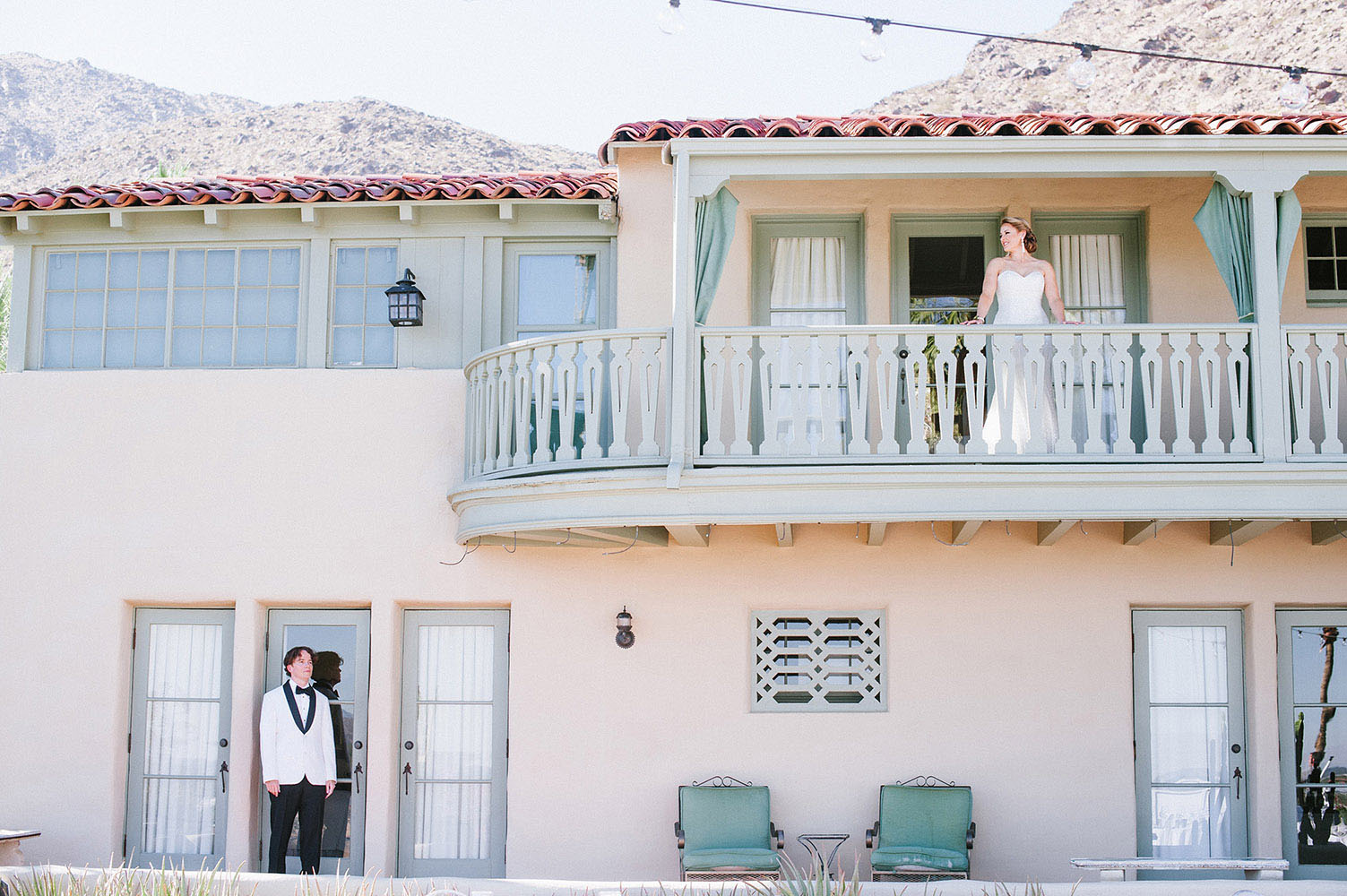 Bride and Groom in front of The O'Donnell house in Palm Springs
