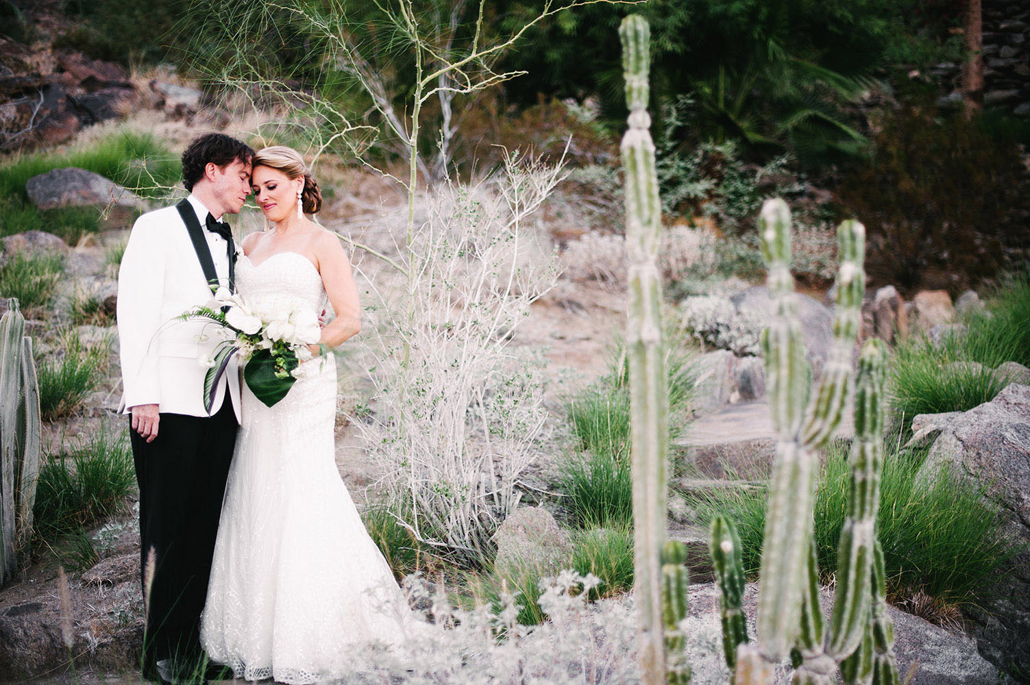 Married couple in Palm Springs by cactus