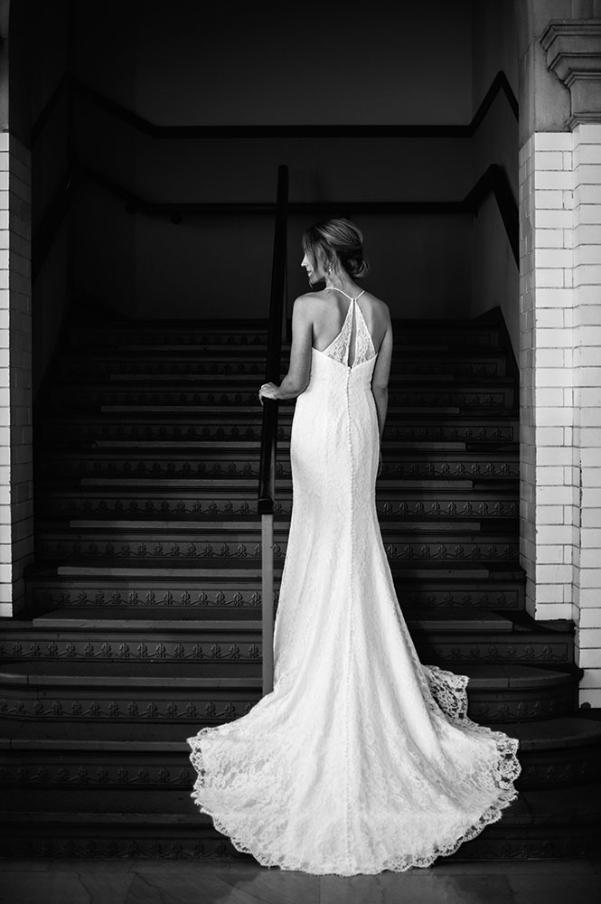 back view of brides gown in black and white