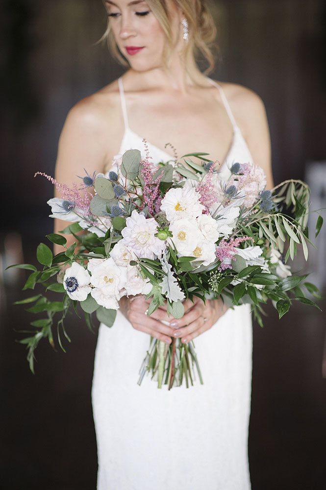 bride with bouquet at Theodore Wirth