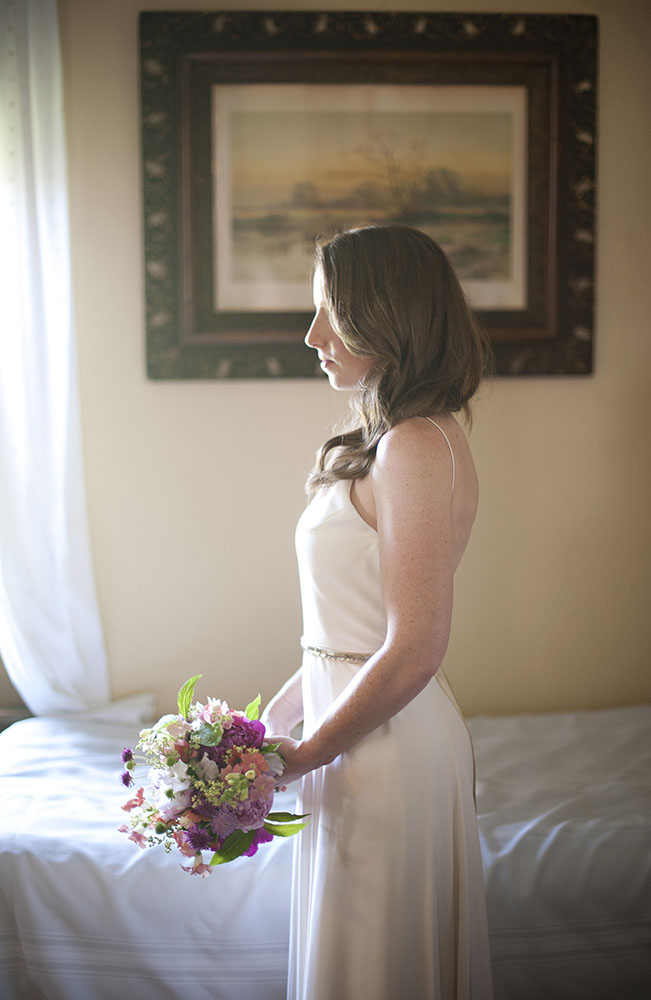 profile of bride with bouquet