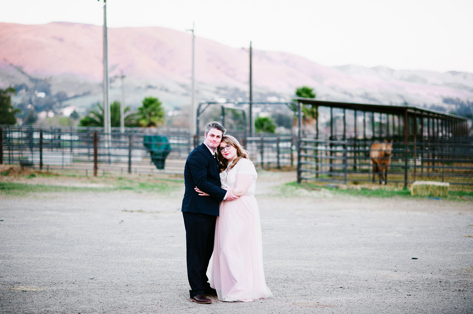 married couple in front of pink mountain in California