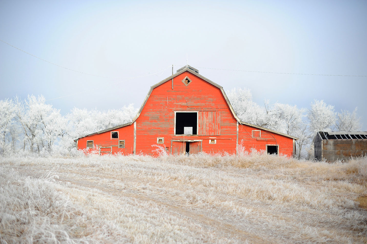 red barn with frost