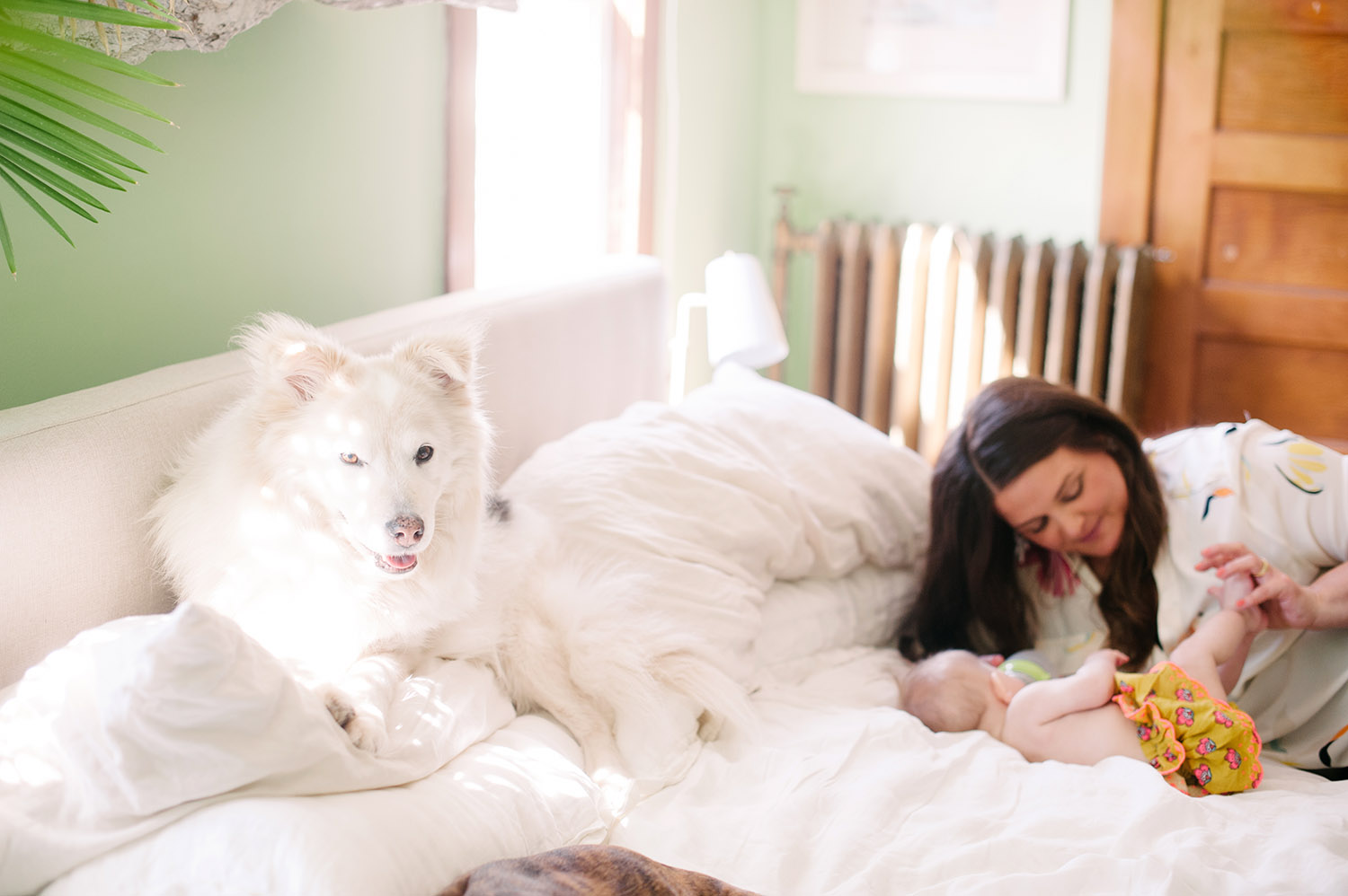 a mom and a baby on a bed with a dog
