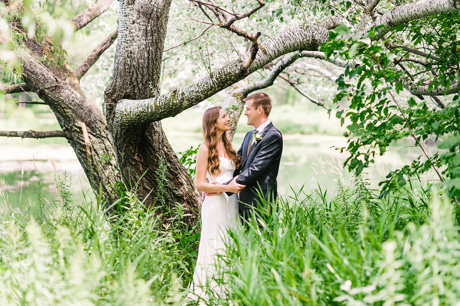 bride and groom in tall grasses with tree