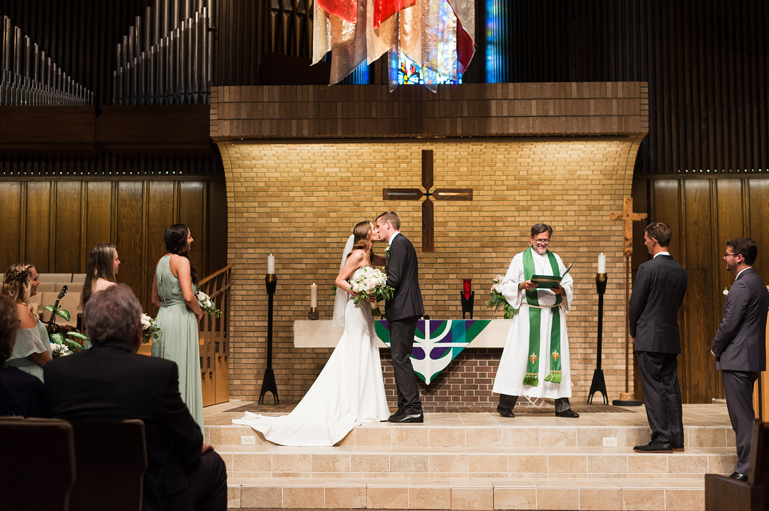 bride and groom getting married in a church